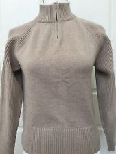Pendleton Womens Fashion Sweater Cotton Pullover Small Beige Zip TC814 62561