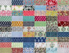 "100 Pcs 100% Cotton Block Print Fabric 10"" Assorted Pre-Cut Fat Quarters Bundle"