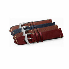 20 22 24mm Brown Black Blue Red VINTAGE Calf Leather Wrist Watch Band Strap Belt
