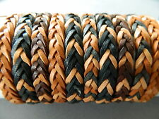 5 pcs leather bracelet wristband  friendhip boys mens flat woven mixed colours