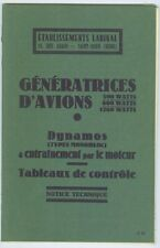 Generatrices d'Avions LABINAL 300- 600- 1200 W  Dynamos...couplage