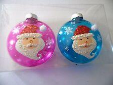 Pink & Turquoise Transparent Santa Christmas Shatter Resista Ornament Decoration