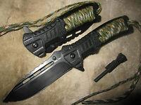 2 x 3 in 1 Einhandmesser Paracord Feuerstarter schwarz/oliv Messer Taschenmesser