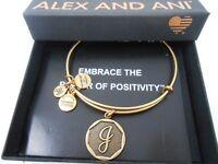 Alex and Ani INITIAL J Expandable Bracelet Rafaelian Gold NWTBC