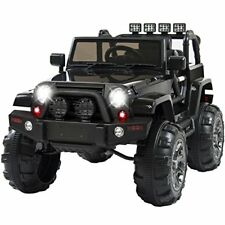 12V Electric Ride On Jeep Truck RC Remote Control MP3 Led Lights For Kids Black