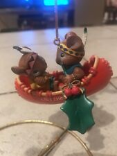 ENESCO CHRISTMAS ORNAMENT: HOW DO I LOVE THEE: MICE IN CANOE 7th in series NEW