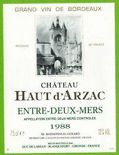 Ancienne Etiquette de vin-Bordeaux(1988)-Entre-2-Mers-Château Haut d'Arzac-N°454