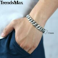 """11mm Silver Curb Cuban Link Bracelet 316L Stainless Steel Chain Jewelry 8/9/11"""""""