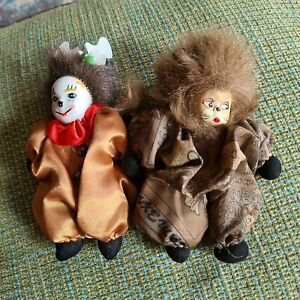 2 Porcelain Baby Doll Clown Dolls Cat Face Stuffed