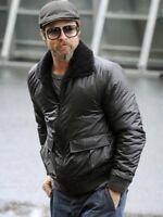 Men's New Fashion Black Bomber Brad Pitt Shearling Collar Real Leather Jacket