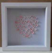 Pretty Hand Crafted Pink Flower heart with beading detail picture in a box frame
