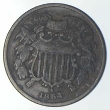 **TWO CENT** 1864 US TWO 2 Cent Piece First Coin with In God We Trust Motto *932