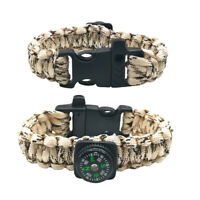 Hot Paracord Rope Compass Whistle Bracelet Wristband Survival Camping Hiking T5