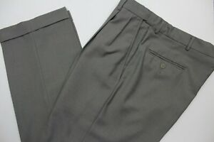Haggar Mens 34x28 Brown Pleat Front Cuffed Dress Pants Expandable Waist Slacks