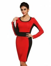 """MEAKA"" BEAUTIFUL LADIES SIZE 14 BLACK & RED COLOUR BLOCK STRETCH PENCIL DRESS"