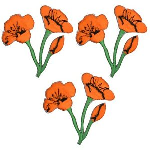 """Poppy Applique Patch - Flower, Bloom, California Badge 1-3/4"""" (3-Pack, Iron On)"""