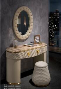 Tocador Espejo Taburete Set Completo Cómoda Dormitorio Nuevo 3tlg. de la Consola