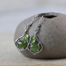 I05 Cloisonne Ohrring Silber 925 Tropfen mit grünem Jaspis und grüne Blätter
