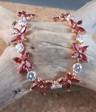 New 4.95ctw Garnet White Topaz Flower Link Tennis Bracelet Rose Gold Filled #600