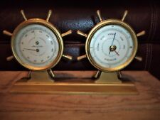 Vtg Airguide Brass Ships Wheel Nautical Weather Station Barometer Themometer