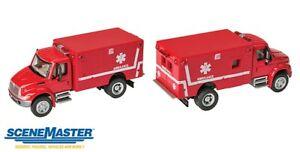 Walthers SceneMaster - Emergency International 4300 EMS Ambulance (red) - HO