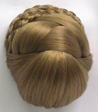 WOMENS BRAIDED PRE-STYLED ELEGANT BUN UPDO DOMED BASE CHIGNON PAGEANT HAIRPIECE