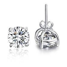 White Topaz Gemstone Silver Stud Earrings Solitare Women Men Wedding Round Cut