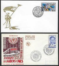 TUNIS 1960 70s FOUR FDCs INCLUDES UN DAG HAMMARSKJOLD US CENTENNARY REFUGEE & HA