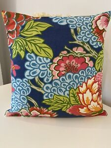 "Thibaut Blue Honshu Bright Floral Bold Cushion Cover 18"" X 18"" Designer"