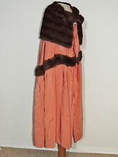 WORTH Paris Edwardian - 1930's  Silk Cape w Large Mink Collar / Trim SM - MED