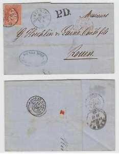 "SWITZERLAND 1867 Sc 46 ON LETTER SHEET ""WINTHERTHUR"" Cds TO ROUEN F,VF SCV$115+"