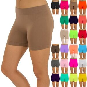 Seamless Solid Plain Basic Short Leggings Layering Casual Nylon Spandex ONE SIZE