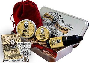 Premium Beard Grooming Set, Moustache Wax,Beard Balm,Beard Oil,Comb & Case