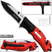 "7.75"" TAC FORCE FIRE FIGHTER FLASHLIGHT SPRING ASSISTED FOLDING POCKET KNIFE"