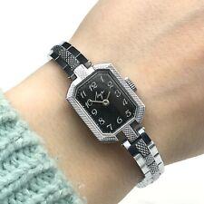 Mujer Vintage Urss Reloj Mecánico Negro Rayas Luch Formal Nuevo Pulsera