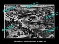 OLD POSTCARD SIZE PHOTO WARM SPRINGS GEORGIA AERIAL VIEW OF THE TOWN c1940