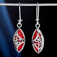 Koralle Silber 925 Ohrringe Damen Schmuck Sterlingsilber H509