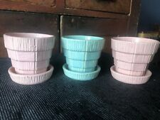 Vintage McCoy Pottery Flower Pots Grained Blocks 3 Pink Aqua EXC