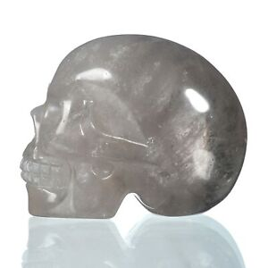 "1.93""Natural Smoky Quartz Crystal Carved Skull Metaphysic Healing Power #32U90"