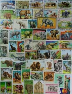 ELEPHANTS on postage stamps, nice collection of 50 different stamps (lot#DP)