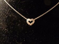 14k White Gold and Diamond Heart Necklace-16""