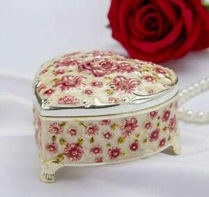 WHITE TIN ALLO HEART WITH ROSE MUSIC BOX : MASQUERADE