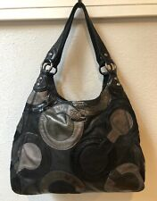 Coach Inlaid Op Art Suede & Leather Maggie Hobo Shoulder Bag 14298