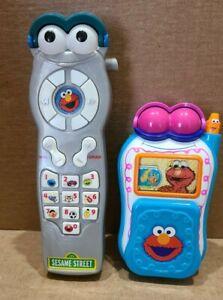 Sesame Street Kids Elmo Phones Lot of 2 - Flip Phone and Cordless - Tested, Work