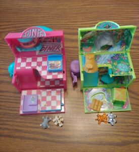 Vintage Pound Puppies Miniature Mini Diner And Jungle Playset  4 Pets