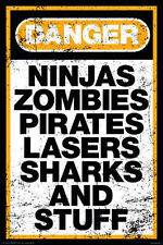 DANGER - ZOMBIES NINJAS POSTER - 24x36 SHRINK WRAPPED - FUNNY COLLEGE 241260