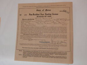 1929 State of Maine Non Resident Deer Hunting License vintage antique