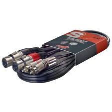 Stagg STC3CMXF S Series 2x rca femelle xlr mâle 3m/10ft twin câble noir-neuf