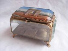 ANTIQUE FRENCH BRASS BEVELED GLASS JEWEL BOX,LATE 19th CENTURY