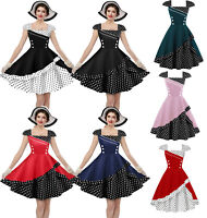 Retro Polka Dots 50s Rockabilly Evening Party Housewife Swing Prom Dress VINTAGE